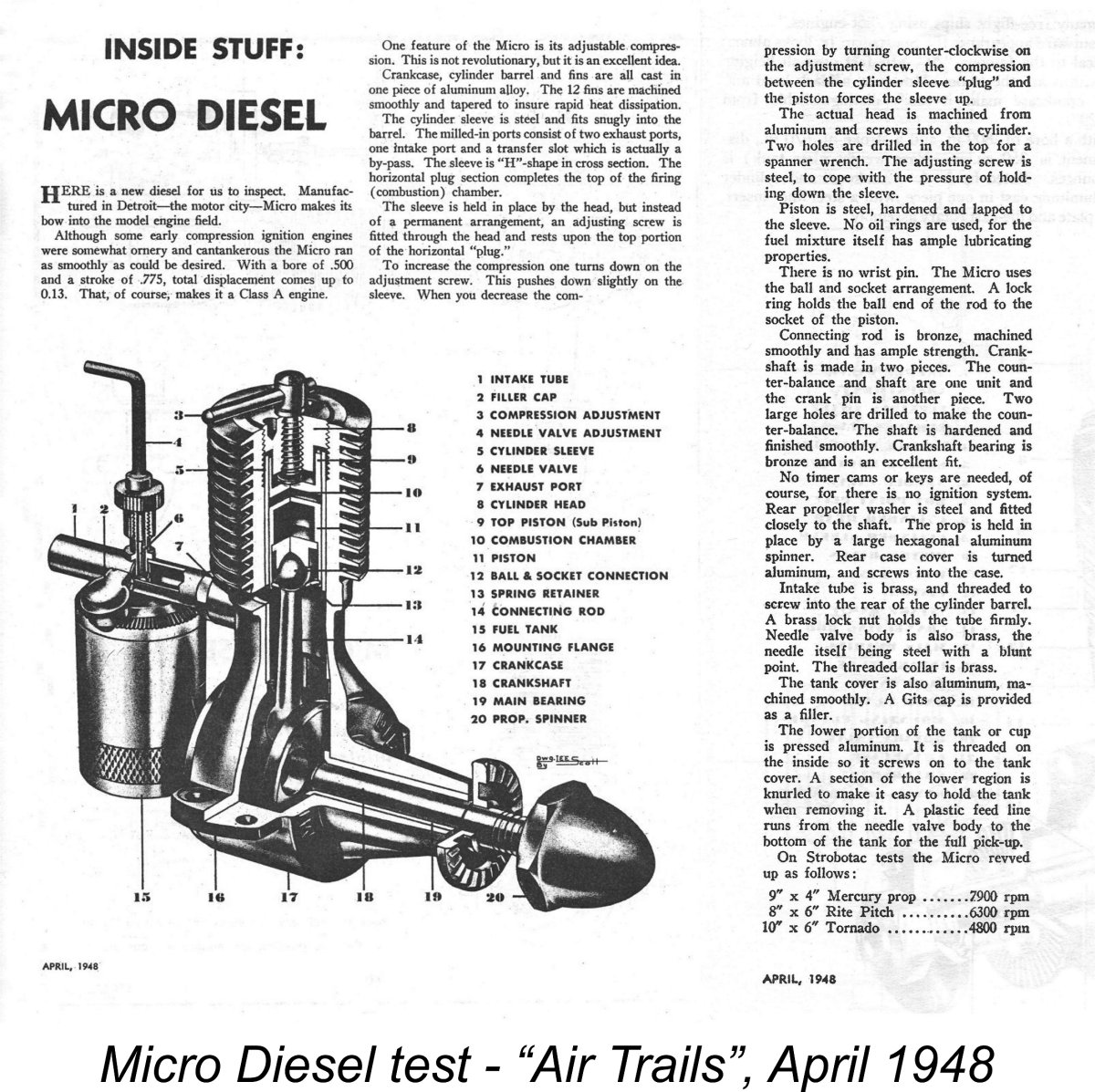 Micro Diesel Usa Amd A Diagram Of Engine Piston As Mentioned Earlier The Original Was Subject Test Report Which Appeared In April 1948 Issue Air Trails Magazine